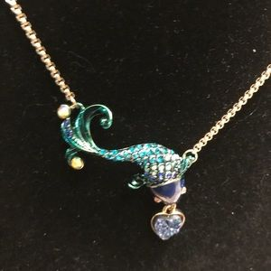 Betsey Johnson Teal Koi Fish Pendant Necklace.